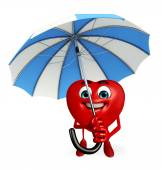 Heart Shape character with umbrella — Stock Photo