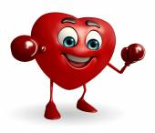 Heart Shape character with boxing gloves — Stock fotografie