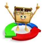 Treasure box character with arrow — Stock Photo #55495319