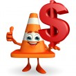 Construction Cone Character with dollar sign — Stock Photo #55499443