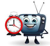 TV karakteri ile masa saati — Stok fotoğraf