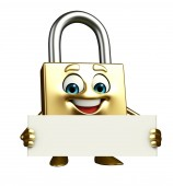 Lock Character with sign — Stock Photo