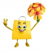 Shopping bag character with flower — ストック写真