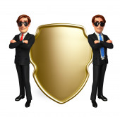 Young Business Man with shield — Stock Photo