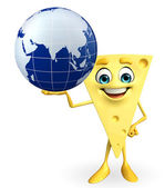 Cheese Character with globe — Stock Photo