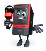 Computer Cabinet Character with mike — Stockfoto