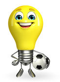 Light Bulb Character with football — Stockfoto