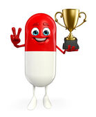 Pill Character with trophy — Stockfoto