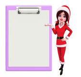 Santa Girl Character with notepad — Stock Photo