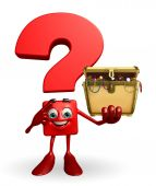 Question Mark character with treasure box — ストック写真