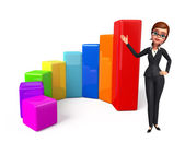 Young Business Woman with business graph — 图库照片