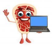 Fleisch Steak Charakter mit laptop — Stockfoto