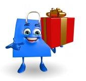 Shopping bag character with gift box — Stockfoto