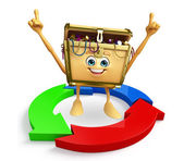 Treasure box character with arrow — Stockfoto