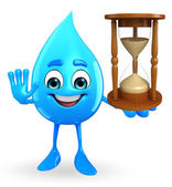 Water Drop Character with sand clock — Stock Photo
