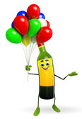 Wine Bottle Character with Balloon — Stockfoto