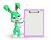 复活节兔子与记事本 — 图库照片