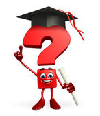 Question Mark character with graduate Hat — 图库照片