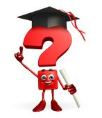Question Mark character with graduate Hat — Stockfoto