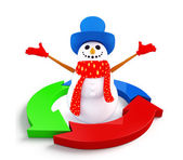 Snowman character with graph diagram — Stock Photo