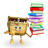 Treasure box character with Books pile — Stock Photo