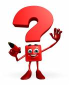 Question Mark character with pen — Stockfoto