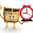 Treasure box character with table clock — Stock Photo #55503651