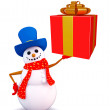 Snowman character with gift box — Stock Photo #55504801