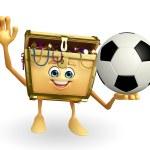 Treasure box character with football — Stock Photo #55504897