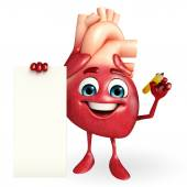 Heart character with sign — Stockfoto