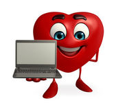 Heart Shape character with laptop — Photo