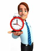 Young Service Man with table clock — Stock Photo