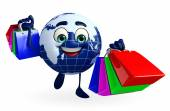 Globe Character with shopping bags — Stock Photo