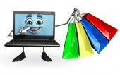 Laptop Character with shopping bag  — Stock Photo