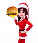 Santa Girl Character with burger — Stock Photo