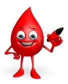 Blood Drop Character with pen — Foto de Stock