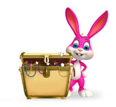 Easter Bunny with treasure box — Stock Photo