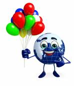 Earth Character with Balloon — Stock Photo
