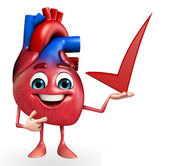 Heart character with right sign — Stock Photo