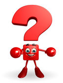 Question Mark character with Boxing Gloves — Stockfoto