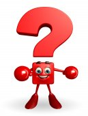 Question Mark character with Boxing Gloves — 图库照片
