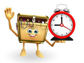 Treasure box character with table clock — Stock Photo