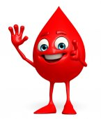 Blood Drop Character with hello pose — Stock Photo