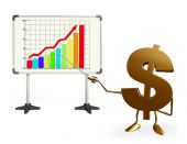 Dollar Character with business graph — Stockfoto