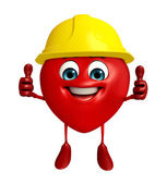 Heart Shape character with worker hat — Stock Photo