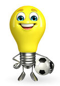 Light Bulb Character with football — 图库照片