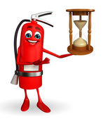 Fire Extinguisher character with sand clock — Stockfoto