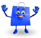 Shopping bag character with hello pose — Stockfoto