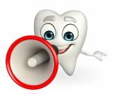 Teeth character with Loudspeaker — 图库照片