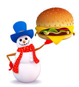 Snowman character with burger — Stockfoto